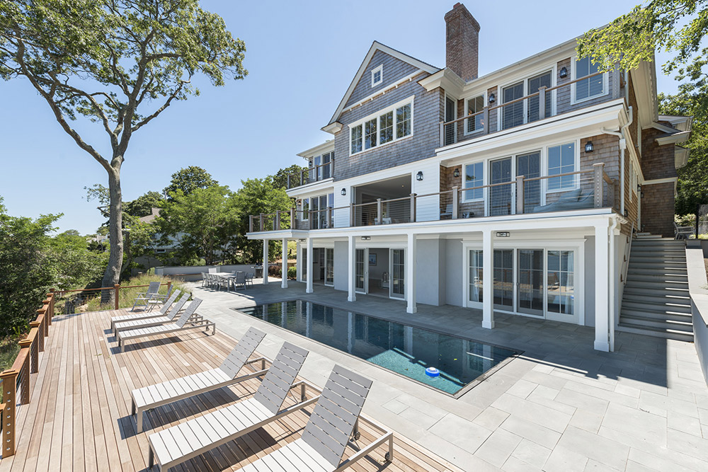 Traditional home, pool and deck