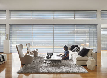 Hunter Douglas shades living room