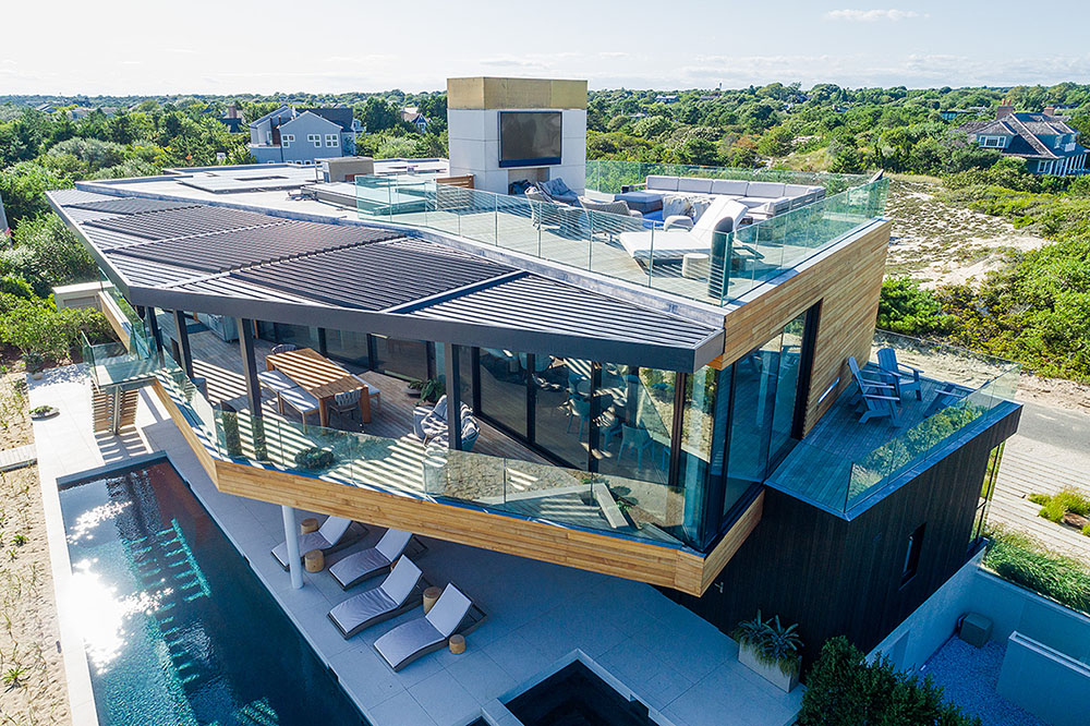 Hamptons beach house exterior from above