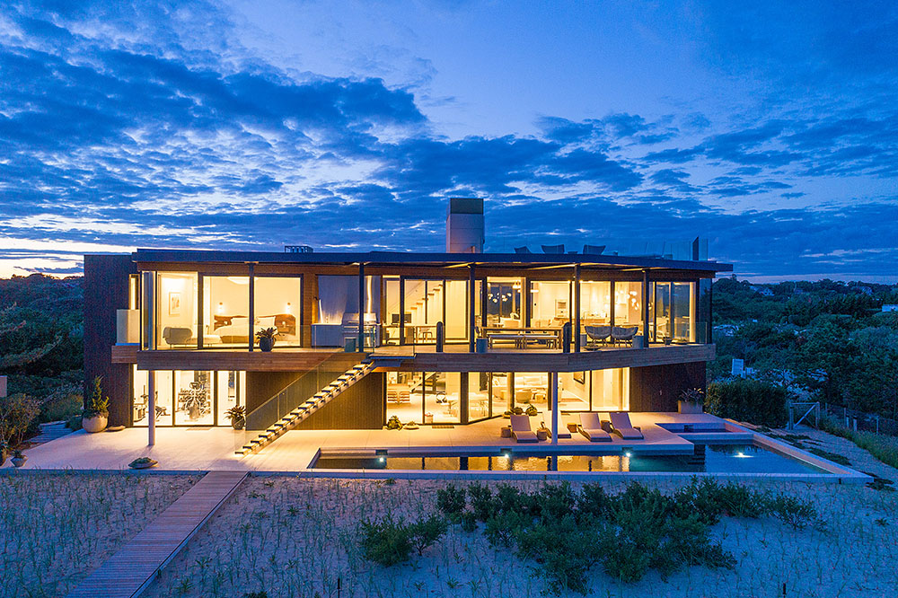 Beach house exterior night