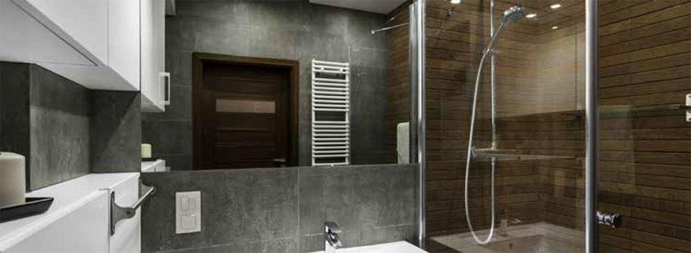 Shower with slate tile