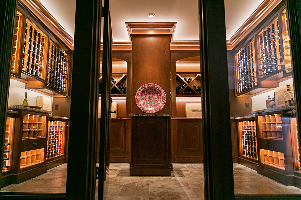 wine room with plate